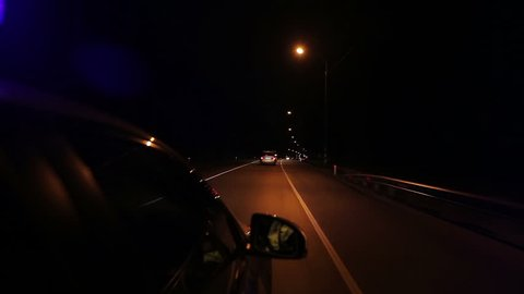High speed police pursuit on freeway at night