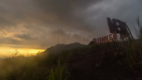Sunset Time Lapse at Bunker Kaliadem, Sleman Yogyakarta which location of Mount Merapi view at jogjakarta