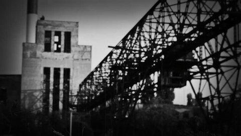 Teddy Bear In Horror Scene Near Abandoned Factory. Old Vintage Film Look