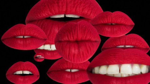 cutout of a woman's beautiful red lips pouting and moving