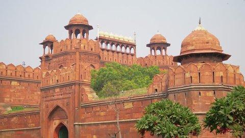 Defensive walls of Red Fort in Delhi, India. Steadicam shot