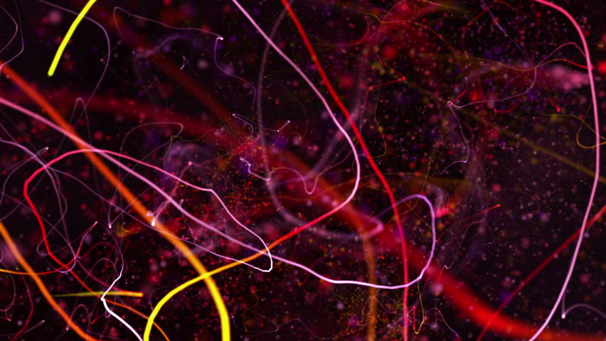 Chaotic ribbons of light squiggle and streak (Loop).