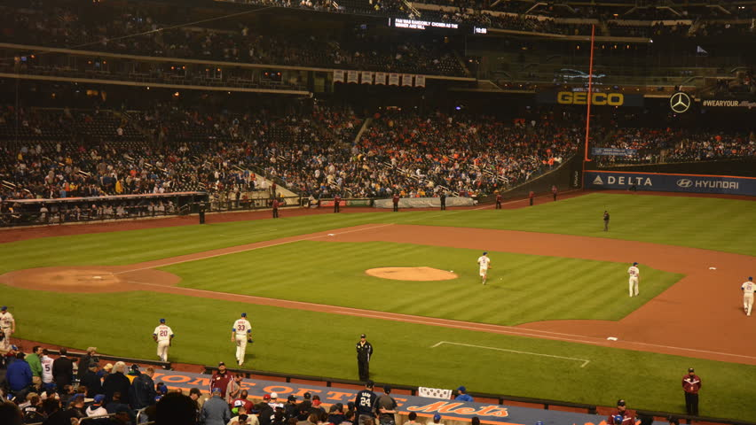 QUEENS, NEW YORK - MAY 28 2013: MLB Baseball: New York Mets vs. New York Yankees time lapse. Historic Subway Series at Citi Field. Mets get hits off Mariano Rivera to come from behind and win.