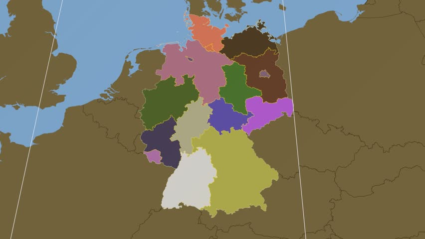 Hamburg State Extruded On The Administrative Map Of Germany Solid