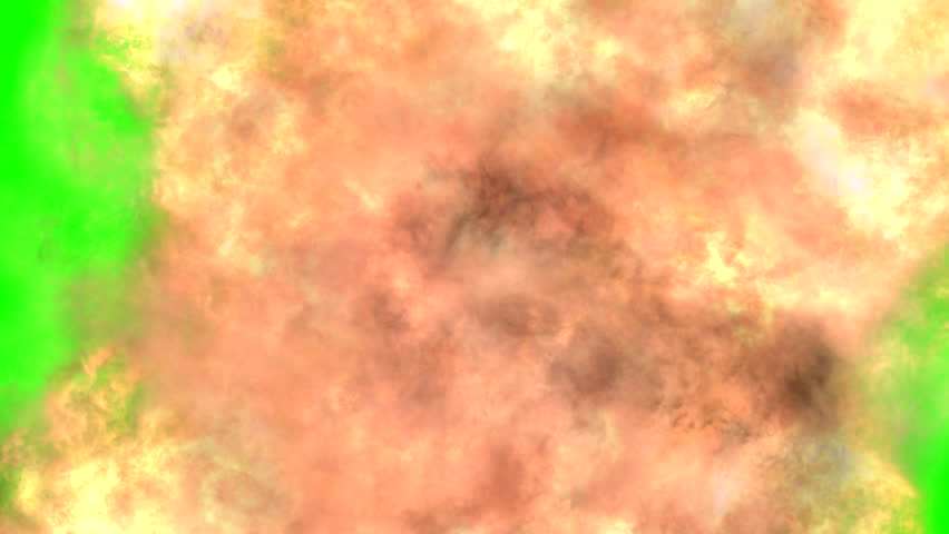 Explosion, and smoke on green screen. Editing
