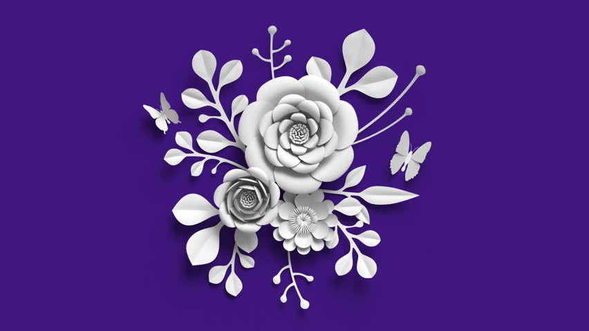 3d rendering, growing floral background, paper flowers appearing, botanical pattern, bridal round bouquet, paper craft, ultra violet, 4k animation