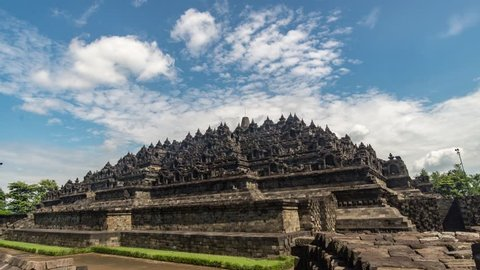 Time Lapse of Heritage Buddist temple Borobudur complex in Yogjakarta in Java, indonesia