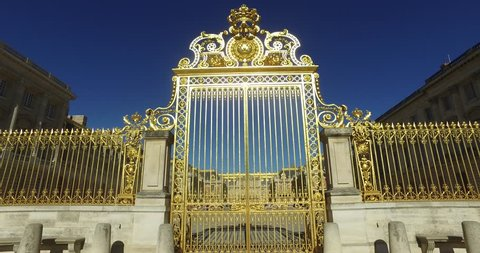 Decoration on the golden fence of Versailles Palace in France 4K, 2160P, 4096x2160
