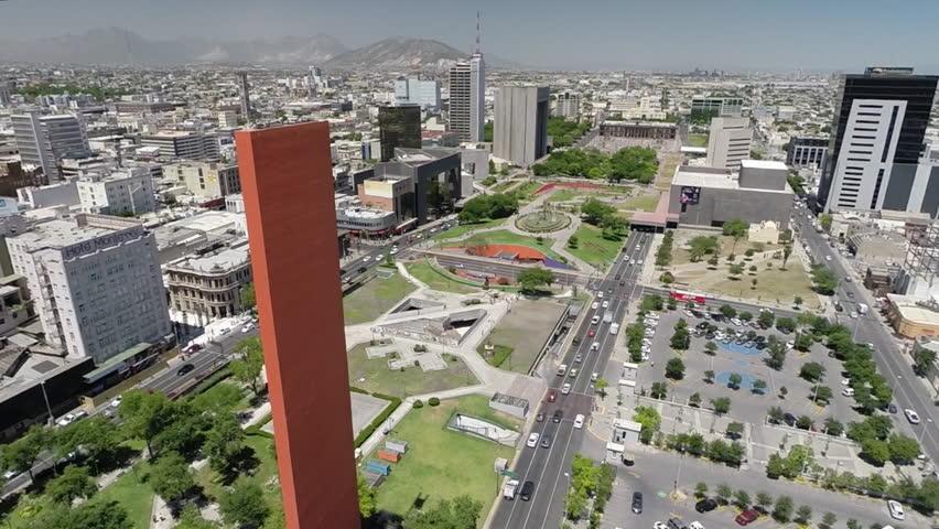 MONTEREY, MEXICO - CIRCA, JULY 2017: Aerial shot of the City Hall, Faro del Comercio and some buildings around in Monterrey Mexico