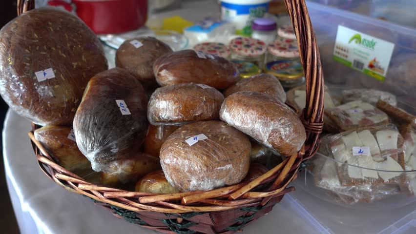 4K Homemade small bread and other products for sale  | Shutterstock HD Video #1007555398