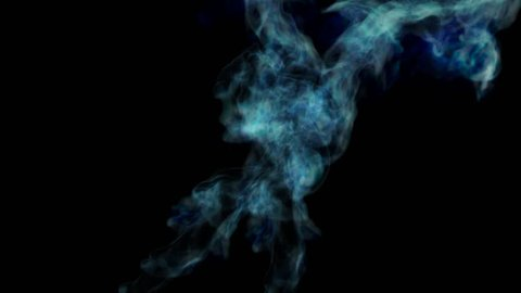 Abstract Blue Fire on a black background with Alpha channel. 3d render. voxel graphics. computer simulation