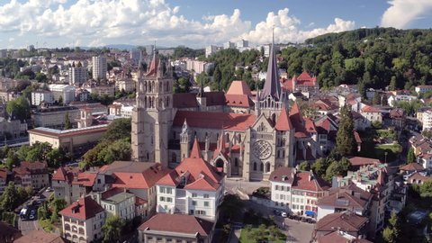 Lausanne Cathedral aerial shot - Flying around this beautiful Medieval Church / Flying around this beautiful Medieval Church