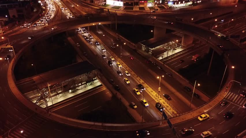 Aerial night video of ring road passing through city center | Shutterstock HD Video #1007585512