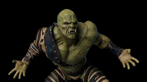 old orc is angry 3d animation
