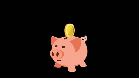 Cartoon animation piggy bank money saving concept with alpha channel