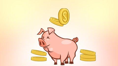 Cartoon animation falling dollar coins past the piggy bank. Alpha matte
