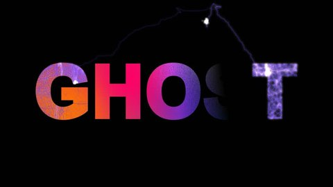 text GHOST multi-colored appear then disappear under the lightning strikes changing color. Alpha channel Premultiplied - Matted with color black