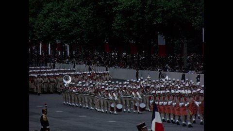 PARIS, 1970, Archival, French military brass band marching, Champs Elysees, Bastille Day