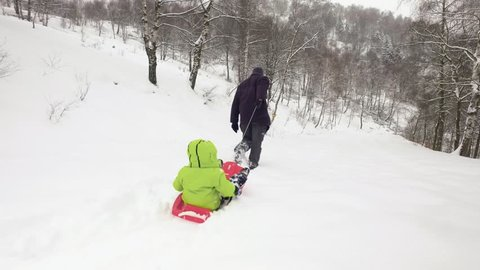 Winter behind follow father pulling red bobsled on snowy field with child.Dad, son or daughter, bobsleigh on snow.Family people have fun together outdoors.4k video