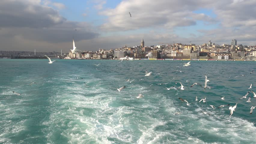 Istanbul, Turkey - 15th of January 2018: 4K Beautiful view on Galata from the Bosphorus
