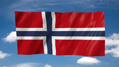 The Norwegian flag, flag in 3d, waving in the wind, on sky background.