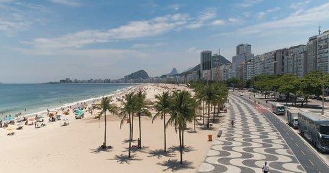Aerial above palm trees to reveal  Copacabana Beach in Rio de Janeiro, Brazil