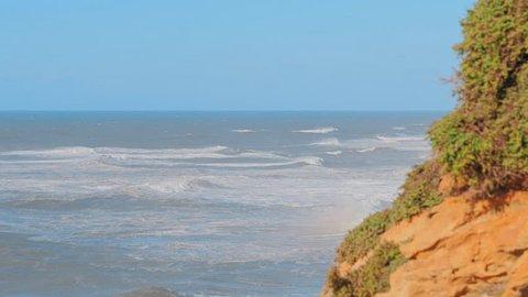 View of Nazare Seaside in Atlantic coast Nazare in Portugal.