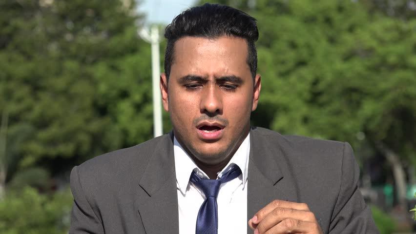 Sick Hispanic Business Man Sneezing | Shutterstock HD Video #1007663782