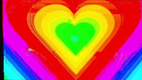 abstract background motion graphic of hearts with overlayed video glitch and distortion