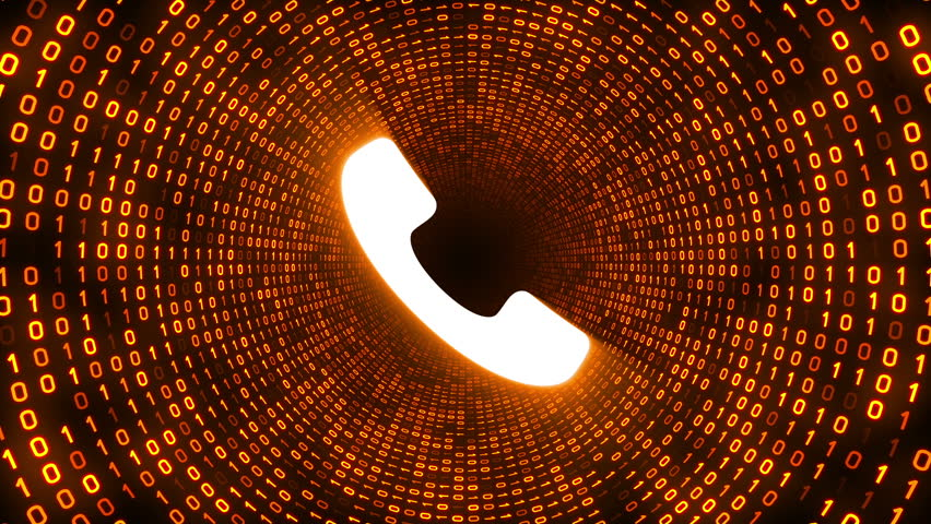 White ringing phone icon form gold binary tunnel on black background. Seamless loop. | Shutterstock HD Video #1007675650