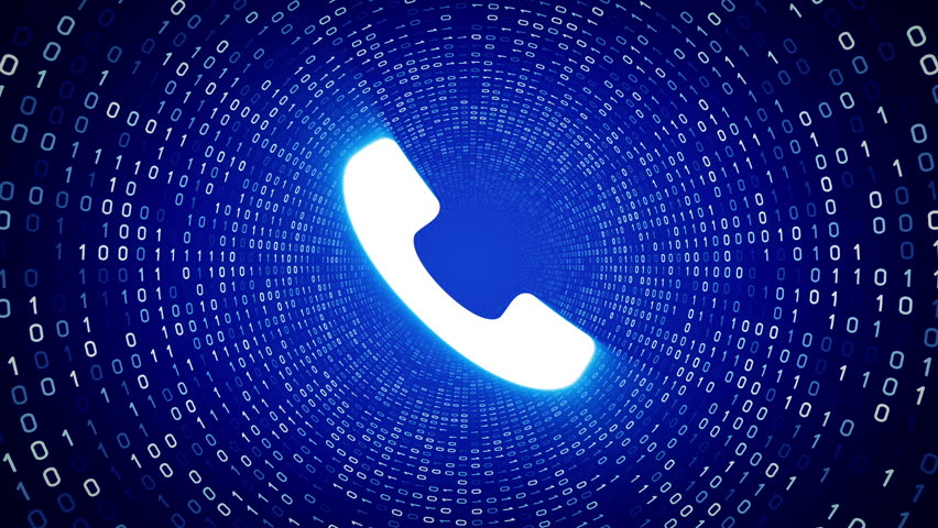 White ringing phone icon form white binary tunnel on blue background. Seamless loop.  | Shutterstock HD Video #1007675716