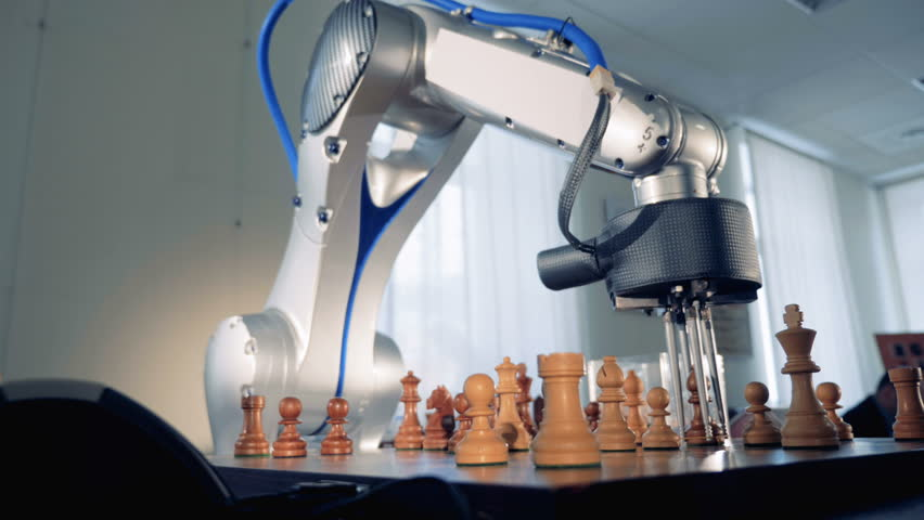 Artificial intelligence, machine intelligence concept. Innovative robot playing chess.
