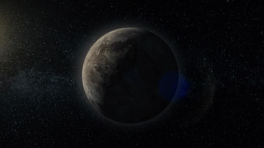 Gas giant planet. Planet in space with sun flash. Miranda, Billions of galaxies in the universe. Extrasolar planet on stars background