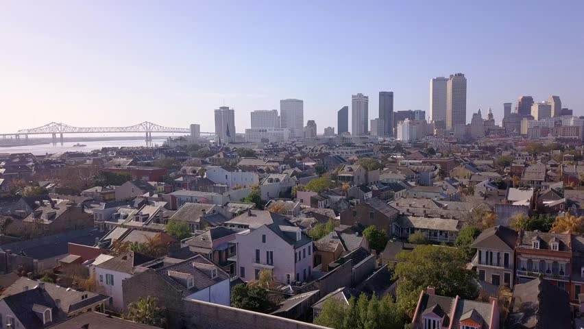Aerial view of the beautiful French Quarter in New Orleans