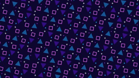 Retro Pop-Art 80's Memphis style pattern animation. Blue and pink shapes on dark background. Stop-frame video loop-ready clip.