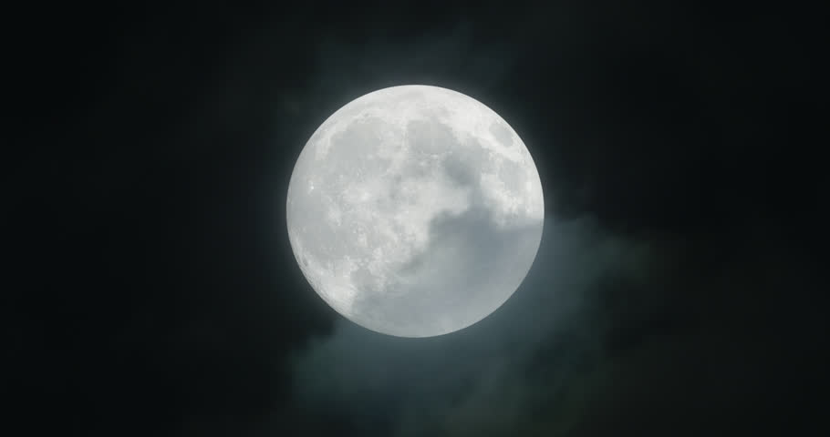 Full moon with stormy clouds, 4k