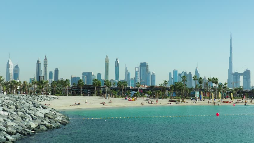 Jumeirah Beach and the city skyline, Dubai, United Arab Emirates