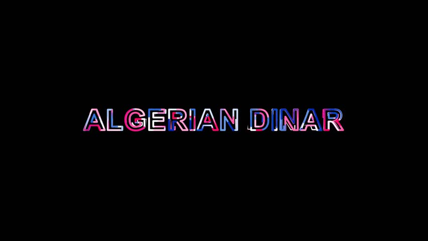 Letters are collected in Currency name ALGERIAN DINAR, then scattered into strips. Bright colors. Alpha channel Premultiplied - Matted with color black