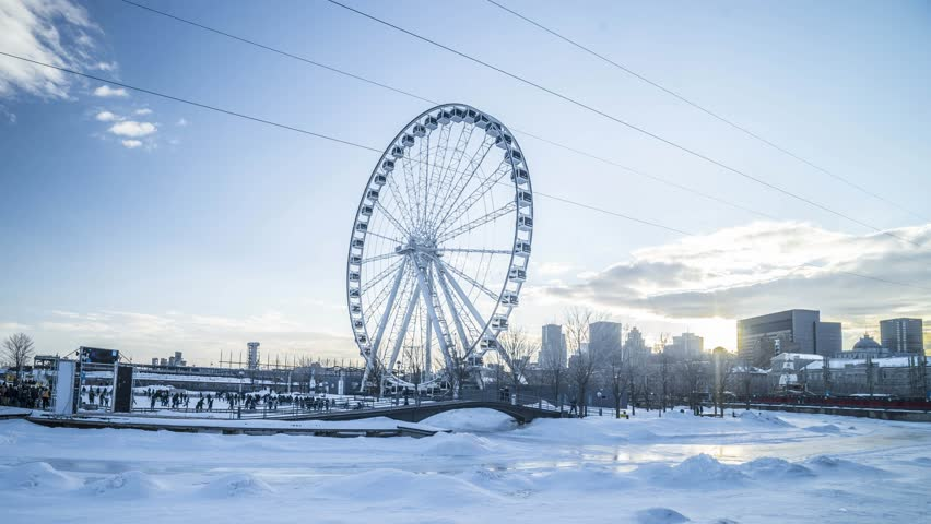 Ferris wheel in snow | Shutterstock HD Video #1007774032