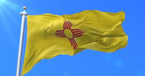 Flag of american state of New Mexico, region of the United States, waving at wind - loop