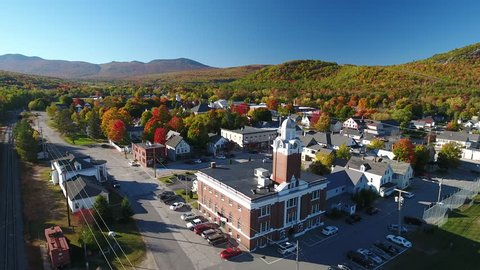 A spectacular Fall aerial view of Gorham, a town in Cumberland County, Maine, United States.