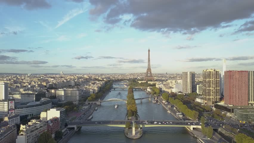Aerial of Paris Eiffel Tower and Seine River | Shutterstock HD Video #1007822482