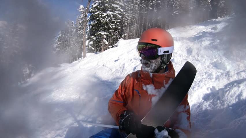 4K skiing video, skier selfie pov off piste falling  #1007830042