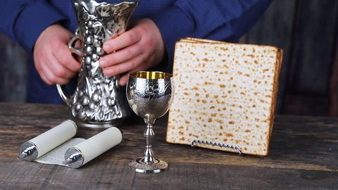 Still-life with wine and matzoh jewish passover bread