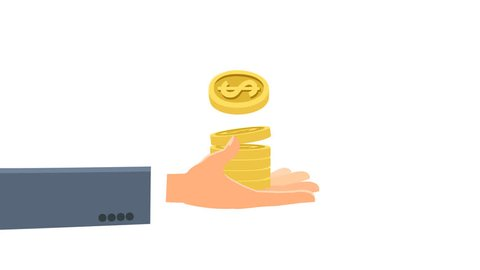 Dollar coins money falling into hand with alpha matte cartoon animation