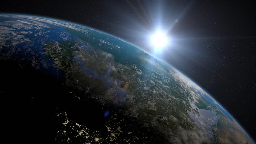 Earth Sunrise over Northern Europe