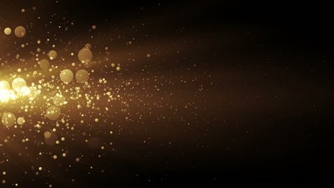 Golden stream with lights and particles. Abstract background for celebration. Seamless loop.