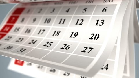 3d animation of flipping calendar pages background