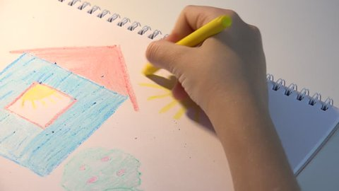 Child Drawing House, Girl Coloring, Kids Making Craft, Children Education 4K