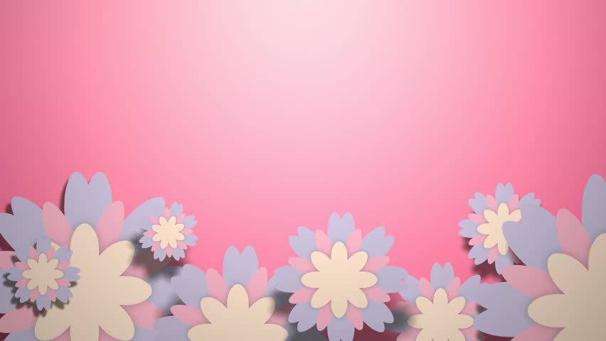 Animated wallpaper with pastel color flowers on pink background.